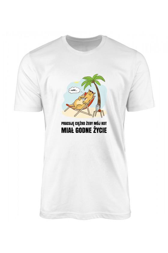 Koszulka Męska Ciężko Pracuję Żeby Mój Kot Miał Godne Życie