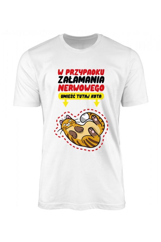 Koszulka Męska W Przypadku Załamania Nerwowego Umieść Tutaj Kota
