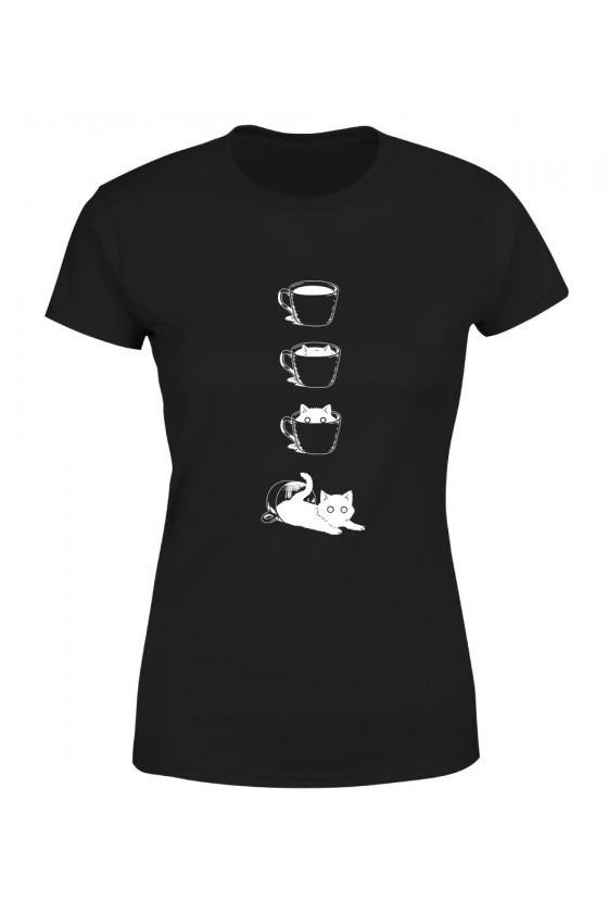 Koszulka Damska Kot I Filiżanka