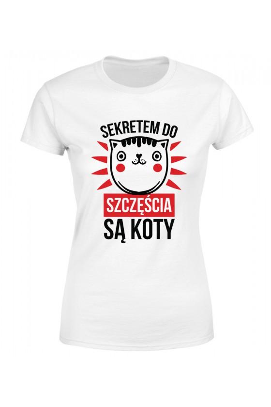 Koszulka Damska Sekretem Do Szczęścia Są Koty