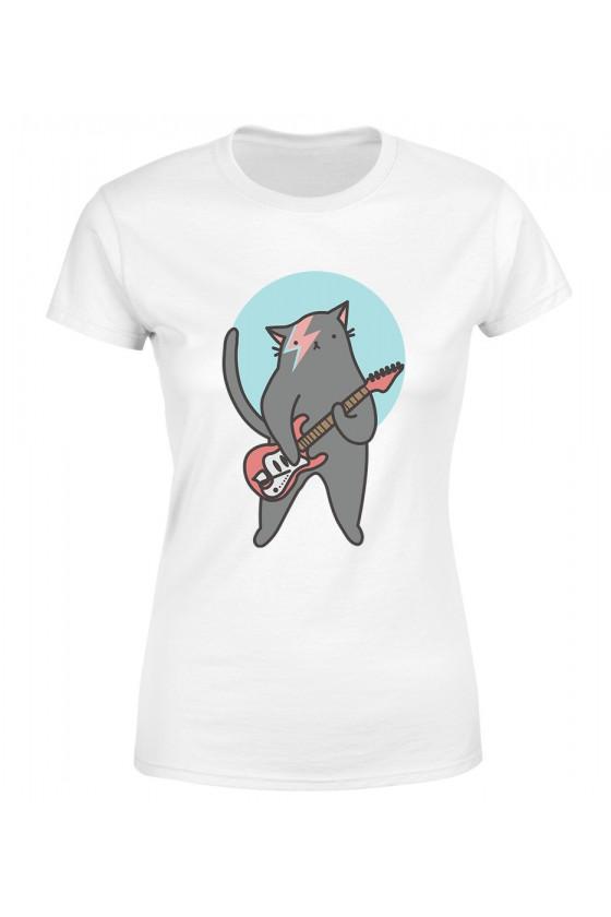 Koszulka Damska Kot Z Gitarą Bowie