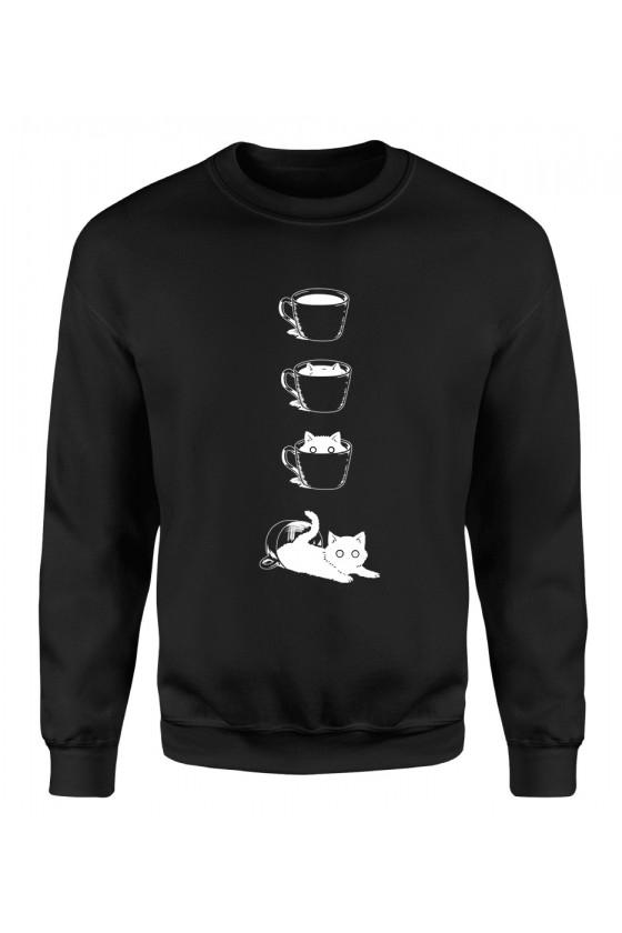 Bluza Klasyczna Damska Kot I Filiżanka