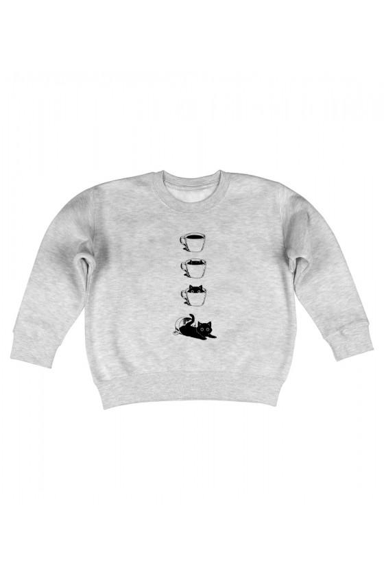 Bluza Dziecięca Bez Kaptura Kot I Filiżanka